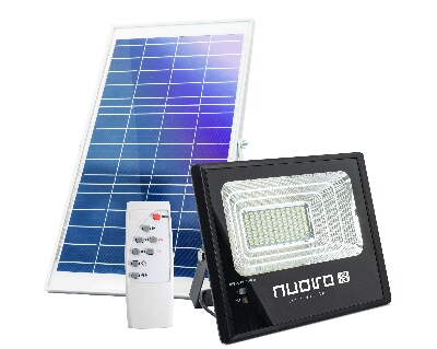 PROYECTOR LED 65 W. + PANEL SOLAR + MANDO IR IP67 NEGRO