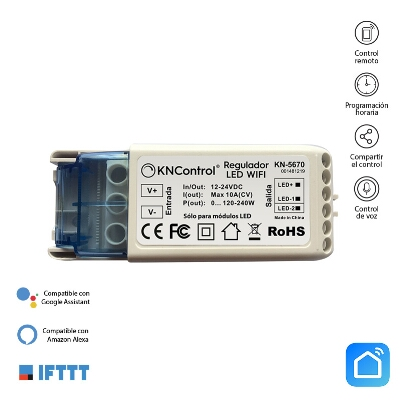 REGULADOR LED WIFI DC 12/24V 10A 120-240W MONOCOLOR